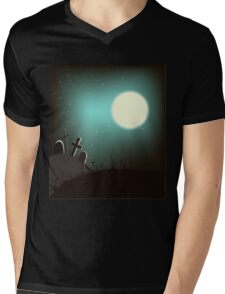 Halloween background with bright full moon. Mens V-Neck T-Shirt