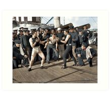 Boxing match aboard the U.S.S. New York. July 3, 1899.  Art Print
