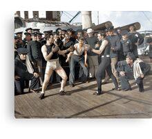 Boxing match aboard the U.S.S. New York. July 3, 1899.  Metal Print