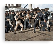 Boxing match aboard the U.S.S. New York. July 3, 1899.  Canvas Print