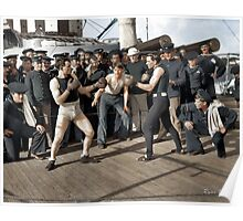 Boxing match aboard the U.S.S. New York. July 3, 1899.  Poster