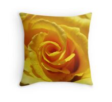 yellow rose and water drops Throw Pillow