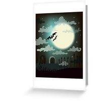 Halloween background cemetery with bright full moon. Greeting Card