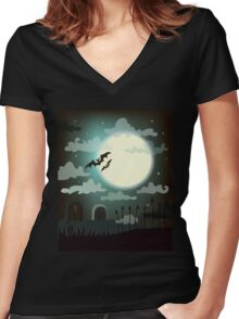 Halloween background cemetery with bright full moon. Women's Fitted V-Neck T-Shirt