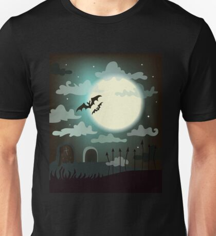 Halloween background cemetery with bright full moon. Unisex T-Shirt