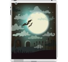 Halloween background cemetery with bright full moon. iPad Case/Skin