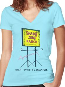 Night Signs 4 Lonely Folk #2 Women's Fitted V-Neck T-Shirt