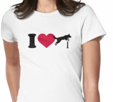 I love dog agility Womens Fitted T-Shirt