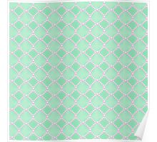 Luxury background with pearls. Silk satin. Pastel, gentle turquoise Poster
