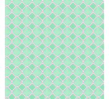 Luxury background with pearls. Silk satin. Pastel, gentle turquoise Photographic Print