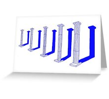 blue ancient columns Greeting Card