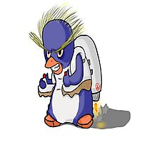 Penguin with Jet Pack Photographic Print