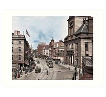 Main Street in Fall River, Massachusetts, circa 1920. Art Print