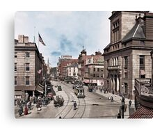Main Street in Fall River, Massachusetts, circa 1920. Canvas Print