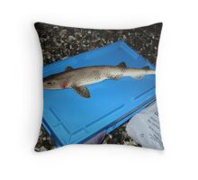 caught dog fish Throw Pillow