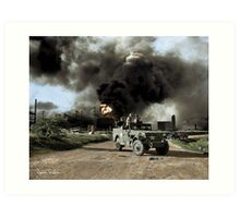 Armed troops near an explosion at an oil factory near Texas City, Texas. April 17, 1947. Art Print