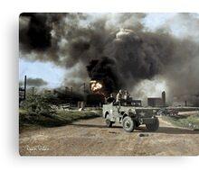 Armed troops near an explosion at an oil factory near Texas City, Texas. April 17, 1947. Metal Print