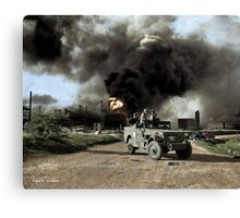 Armed troops near an explosion at an oil factory near Texas City, Texas. April 17, 1947. Canvas Print