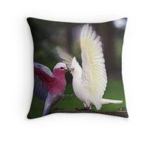 Galah & Corella squabbling Throw Pillow