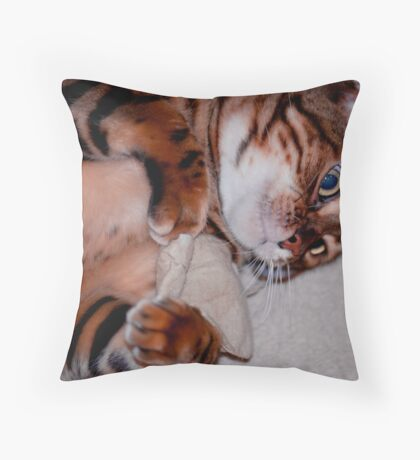 Domino and catnip teabag Throw Pillow
