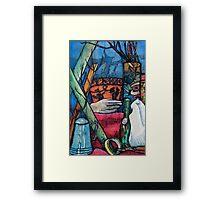 Blue and Orange Pots Framed Print