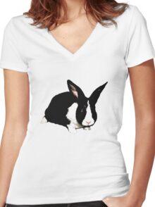 BUNNY BLACK WHITE RABBIT Women's Fitted V-Neck T-Shirt