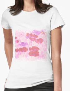 Painted Red Flowers Womens Fitted T-Shirt