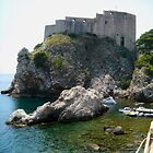 Dubrovnik - Castle Walls Rising from the Peaceful Mediterranean. by Keith Richardson
