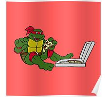 TMNT - Raphael with Pizza Poster
