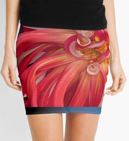 Giant Red Dahlia masquerading as sea anemone Mini Skirt