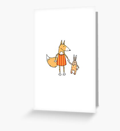 Fox and hare. Greeting Card