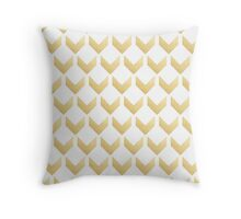 Gold Chevron pattern Hex by row Throw Pillow