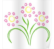 Pink and Yellow Flowers Poster