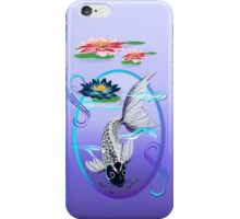 White Koi-Blue Lily Oval iPhone Case/Skin