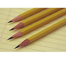 Four Pencils on Yellow Legal Pad Photographic Print