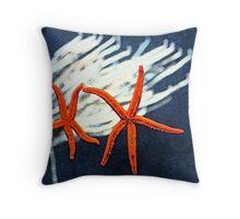 Starfish & Corel Throw Pillow