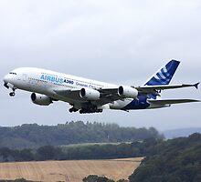 Airbus A380 Departure 1 by Richard Hanley www.scotland-postcards.com