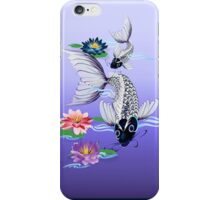 Two White Koi-Blue Lily  iPhone Case/Skin