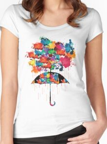 Rainbow rainy day Women's Fitted Scoop T-Shirt
