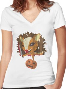 Pumpkin Hunter Women's Fitted V-Neck T-Shirt