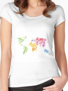 Watercolor map Women's Fitted Scoop T-Shirt