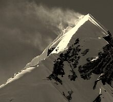 Snow Flurries Off Nuptse Peak by Cedar Wolf
