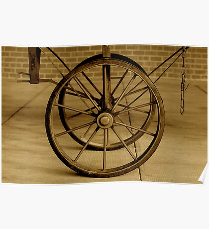 Old Wagon Wheels Poster