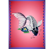 White Koi-Blue Lily Poster Photographic Print