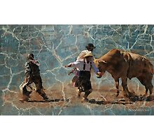 Scatter! Montana Rodeo, Bull Fighting at it's best! Photographic Print