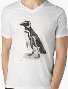 Penguin Watercolor Painting Mens V-Neck T-Shirt