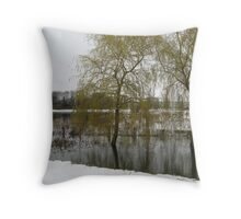 xmas card willows in the snow Throw Pillow