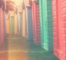 Beach Huts 02D - Retro Sticker