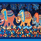 Elephant Conga Cushion and Card Design by Lisa Frances Judd~QuirkyHappyArt