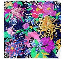 Peonies and chrysanthemums Poster